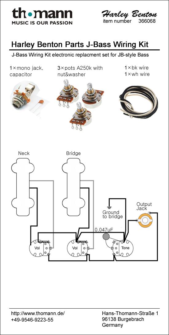 harley benton parts jb wiring kit thomann uk rh thomann de pj bass wiring kit precision bass wiring kit