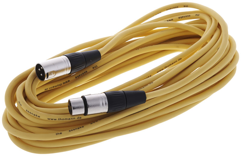 Yellow 10m XLR Patch Lead Male to Female Microphone Mic Cable