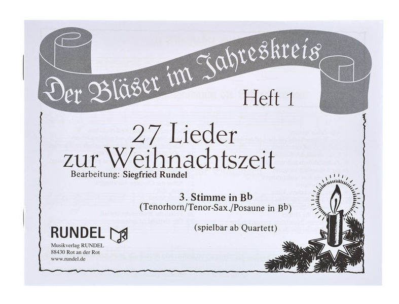 Musikverlag Rundel 27 Lieder Weihnacht 3 Bb