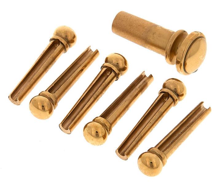 Harley Benton PartsBridgepin Set Brass Plain