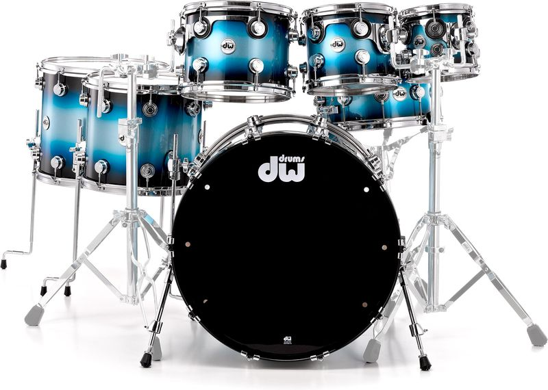DW Maple Mahogany Silver Blue Bur