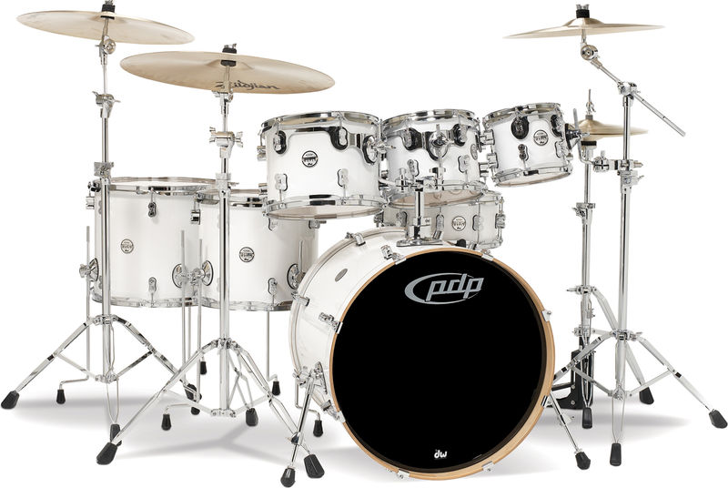 DW PDP CM7 Rock Pearlescent White