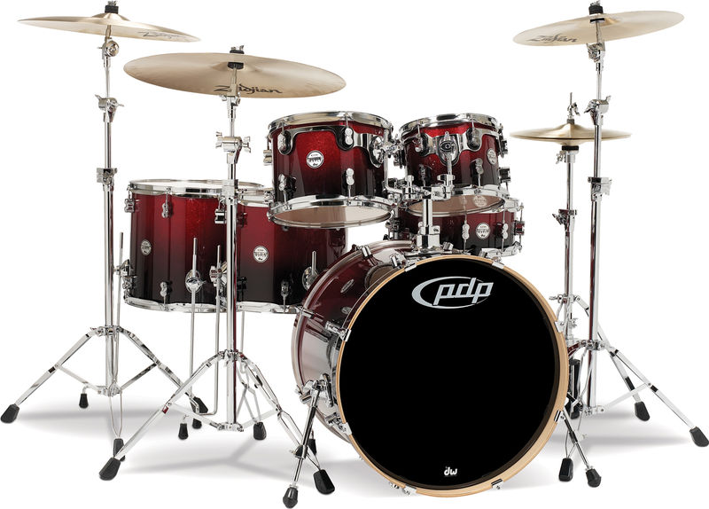 DW PDP CM6 Fusion Red Black Fade
