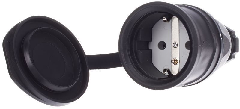 PCE Rubber Socket EU Bk w. Cover