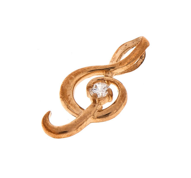 Rockys Pendant Treble Clef Gold Gem