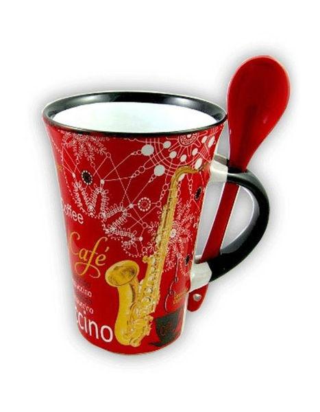 Music Sales Cappuccino Mug Saxophone Red