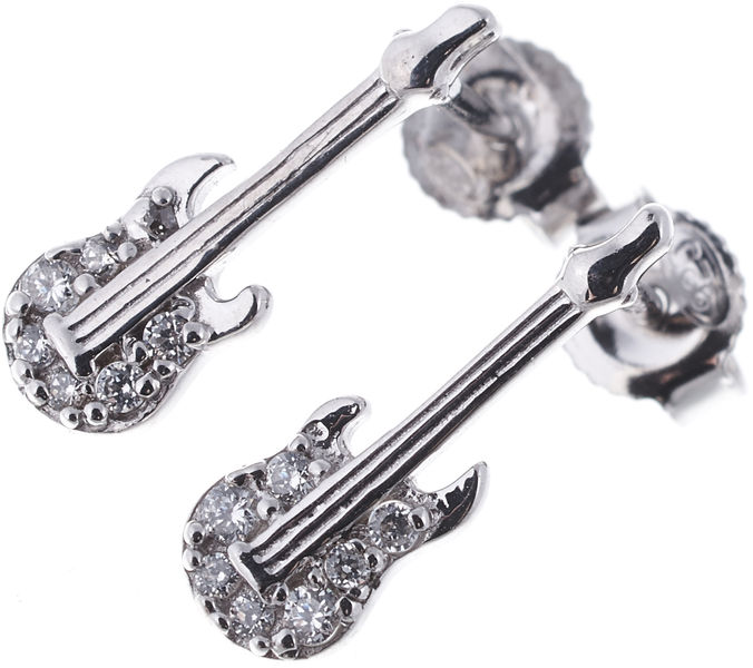 Rockys Stud Earrings E-Guitar Silver