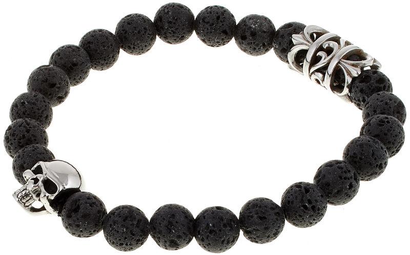 Rockys Bracelet Lava Stone Skull