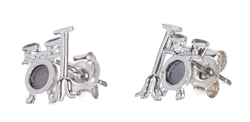 Rockys Stud Earrings Drum Set Silver