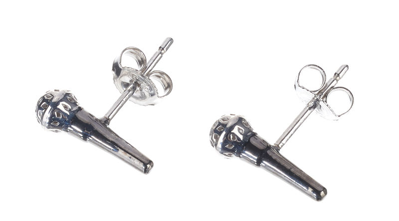 Rockys Stud Earrings Microphone