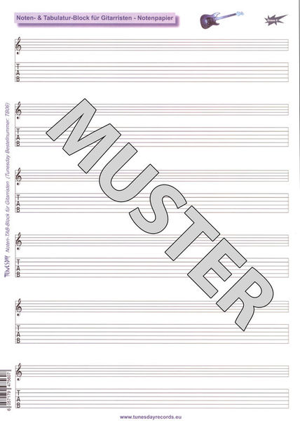Tunesday Records Music Paper Notation /Tab
