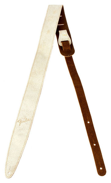 Fender Distressed Leather Strap WHT