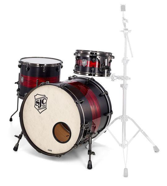 SJC Drums Custom Rock Satin Stain & Red