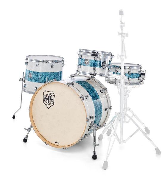 SJC Drums Custom 4-piece White Turqouise