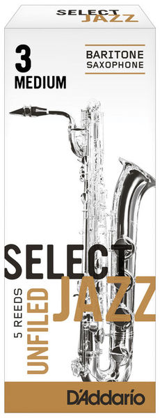 DAddario Woodwinds Select Jazz Unfiled Bariton 3M