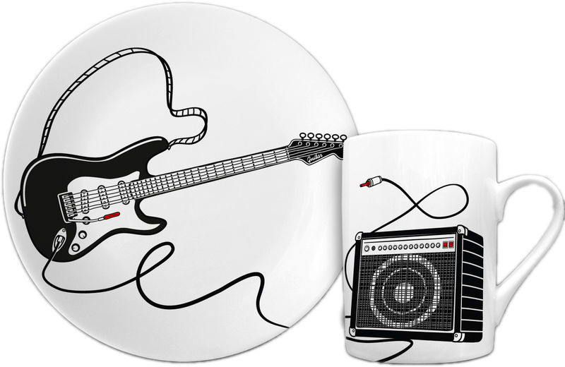 Breakfast Set Guitar II Black tellerundtasse
