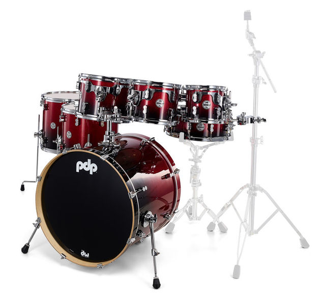 DW PDP CM7 Rock Red to Black
