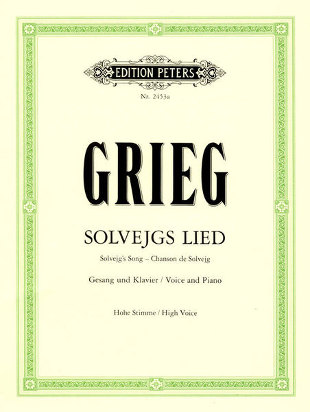 Edition Peters Grieg Solvejgs Lied High Voice