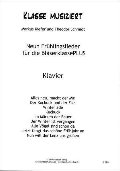 Goldbach Verlag Frühlingslieder Piano