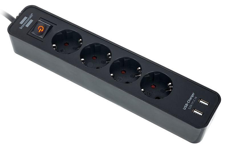 Ecolor Power Strip 4Way USB BK Brennenstuhl